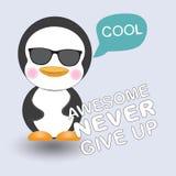 Пингвин поздравительной открытки милый холодный Стоковая Фотография RF