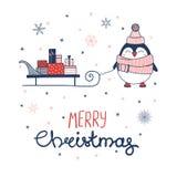 пингвин приветствию рождества карточки иллюстрация вектора