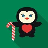 Пингвин при значок тросточки конфеты в плоском стиле изолированный на белой предпосылке Иллюстрация вектора запаса символа Рождес Стоковые Фотографии RF
