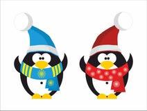 2 пингвин Санта Клаус иллюстрация штока