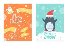 Пингвин ткани с Рождеством Христовым открытки зимы теплый Стоковое Изображение