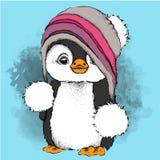 Пингвин шаржа в шляпе Характер для ` s рождества и Нового Года конструирует также вектор иллюстрации притяжки corel Стоковые Фото