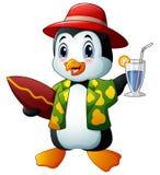 Пингвин шаржа с питьем и surfboard коктеиля иллюстрация вектора