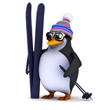 пингвин 3d имеет некоторые лыжи Стоковые Изображения RF