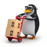 пингвин 3d поставляет некоторые коробки иллюстрация вектора