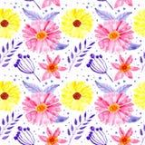 Пинк безшовной акварели картины флористический и желтые цветки иллюстрация вектора