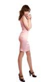 пинк девушки платья к предельный белизне Стоковое Изображение RF