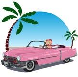 пинк девушки 50 автомобилей обратимый Стоковые Изображения RF