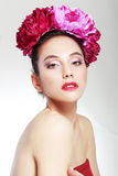 пинк девушки цветков Стоковая Фотография