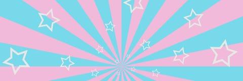 Пинк и голубая striped предпосылка с иллюстрацией звезд 3D белизны Стоковые Изображения