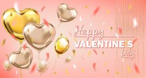 Пинк и сердце сусального золота Yallow формируют воздушные шары и счастливую литерность дня Святого Валентина иллюстрация штока