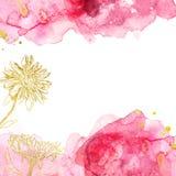 Пинк конспекта акварели и бургундская предпосылка с цветками золота, текстура руки вычерченная жидкостная с ручным графиком знаме стоковое изображение rf