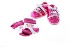 пинк младенца обувает носки Стоковые Фото