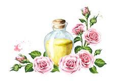 Пинк поднял шаблон цветка и эфирного масла aromatherapy спа Иллюстрация акварели нарисованная рукой, изолированная на белом backg бесплатная иллюстрация