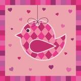 пинк приветствию карточки птицы иллюстрация вектора