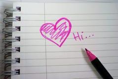 пинк примечания влюбленности сердца Стоковое Изображение