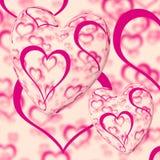 пинк сердец сердца конструкции предпосылки Стоковые Изображения