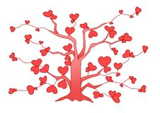 Пинк сердца дерева дизайна на белой предпосылке иллюстрация вектора