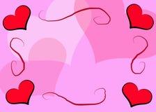 пинк сердец рамки Стоковая Фотография RF