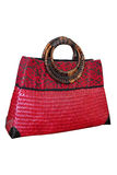 Пинк сумки плетеной корзины Стоковое Фото