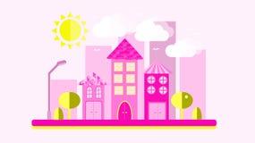 Пинк с желтым городским ландшафтом в плоском стиле Город с домами с склоняя крышей и различными красивыми плитками с lanter бесплатная иллюстрация
