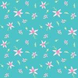 Пинк цветет акварель картины предпосылки teal безшовная Стоковая Фотография