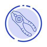Пинцеты, плоскогубцы, схваты, ремонт, линия значок голубой пунктирной линии инструмента бесплатная иллюстрация