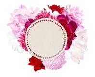 Пионы и круглый ярлык для текста Розовые, белые пионы Стоковое Изображение RF