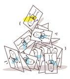 Пирамида визитных карточек шаржа рушась Стоковые Фото