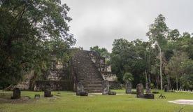 Пирамида и висок в парке Tikal Sightseeing объект в Гватемале с майяскими висками и руинами церемонии Tikal старое Стоковое фото RF