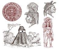 Пирамида Майя винтажная, портрет человека, традиционный костюм, календарь и украшение на голове Родная ацтекская культура бесплатная иллюстрация