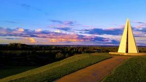 Пирамида Мильтон Keynes захода солнца Стоковое Фото
