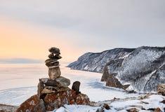 Пирамида озера льда камней вышеуказанного Стоковое Изображение