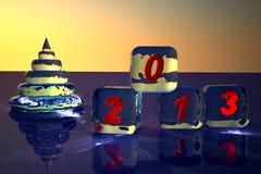 Пирамидка как fir-tree и кубики Новый Год от льда. иллюстрация штока
