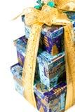 пирамидка подарка голубых коробок Стоковая Фотография RF