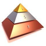 Пирамида в бронзе, серебре и золоте иллюстрация штока