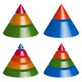 Пирамида, диаграммы конуса 3-2-5-4 уровней Многоуровневое gra треугольника 3d иллюстрация штока