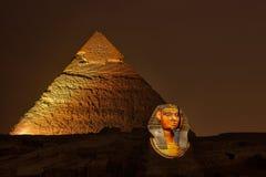 Пирамида и сфинкс Гизы, волшебный звук и свет показывают Стоковая Фотография
