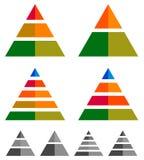 Пирамида, конус, диаграммы треугольника, диаграммы 3-2-5-4 уровень, multileve иллюстрация вектора