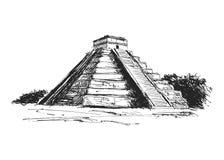 Пирамида Майя чертежа руки Стоковые Изображения
