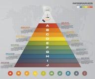 пирамида 10 шагов с открытым космосом для текста на каждом уровне infographics, представления или реклама иллюстрация штока