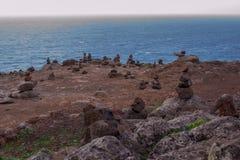 Пирамиды камней на острове Мадейры, накидки San Lorenzo Стоковые Изображения RF