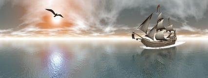 Пиратский корабль, 360 градусов влияния - 3D представляют бесплатная иллюстрация