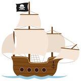 Пиратский корабль или парусник иллюстрация вектора