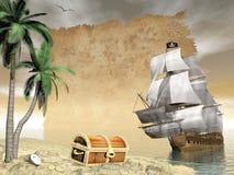 Пиратский корабль находя сокровище - 3D представляют Стоковые Изображения RF