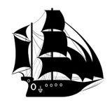 Пиратский корабль, парусное судно под черным флагом Стоковое Изображение RF