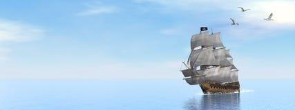 Пиратский корабль - 3D представляют иллюстрация штока