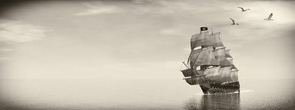 Пиратский корабль - 3D представляют иллюстрация вектора