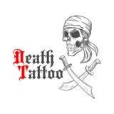 Пиратствуйте череп в эскизе bandana и пересеченных шпагах Стоковое Изображение