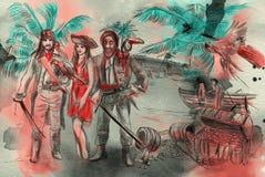 Пираты Иллюстрация нарисованная рукой Чертеж от руки, крася иллюстрация вектора